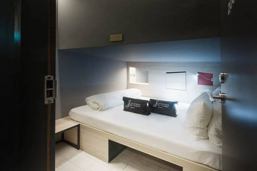 Double cabin at Eighteen by Three Cabins capsule hotel in Singapore.