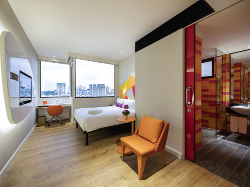 Guest room at Ibis Styles Singapore On Macpherson hotel.
