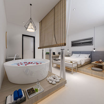 Guest room at Hotel 1888 Collection Singapore.