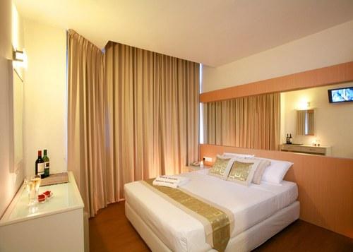 Guest room at Regin Hotel in Singapore.