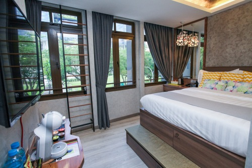 Premium Double Room with City View at Champion Hotel City in Singapore.