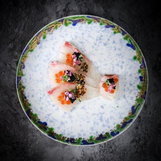 Kanpachi Carpaccio - Shinzo Japanese Cuisine.