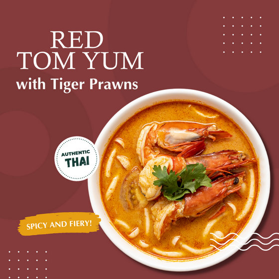 Red Tom Yum with Tiger Prawns - Siam Kitchen Outlets in Singapore.