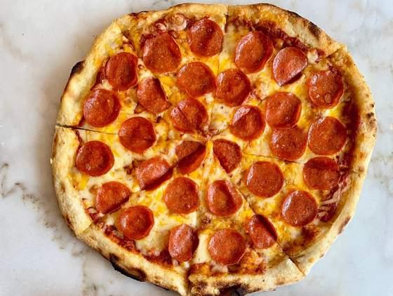 NY Style Pepperoni Pizza.