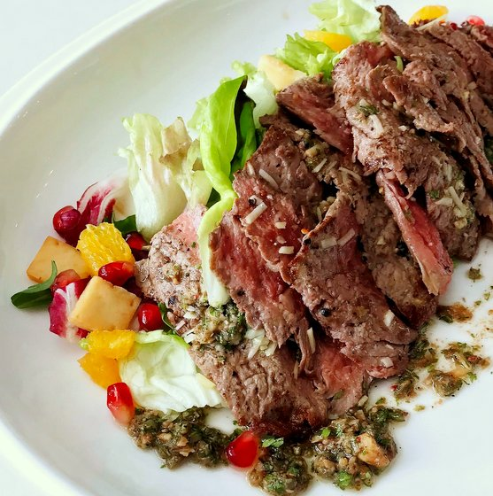 Grilled Beef Ribeye Salad - Mad About Sucre French Restaurant in Singapore.