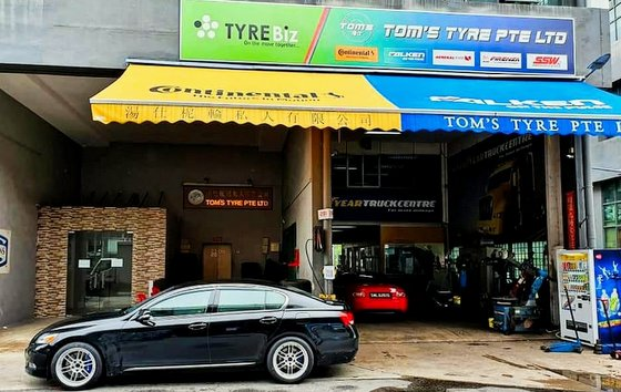 Tom's Tyre Shop in Singapore.