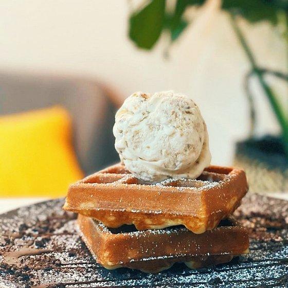Pan-ffles with Ice Cream.