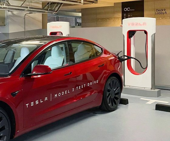 Tesla Supercharger Station in Singapore - Orchard Central.